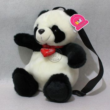 Free shipping full body black & white panda bear plush backpack adjustable straps book bag
