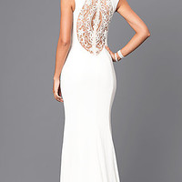 Long Keyhole Prom Dress with Embroidered Back Detail