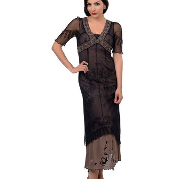 Nataya 1930s Style Black & Cocoa Half Sleeve Embroidered Tulle Tea Length Dress