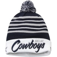 Dallas Cowboys New Era Snow Stripe Knit Hat – Navy Blue/White