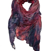 TISSU TIRE - Object Dyed 'Nebula' Scarf - SKU 749CA BLACK GREY - H. Lorenzo