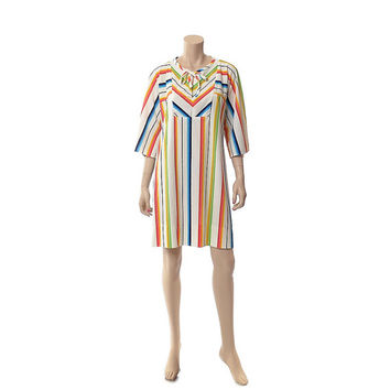 Vintage 60s 70s Rainbow Stripe Terry Cover Up 1960s 1970s Kimono Sleeve Hippie Dress Boho Thin Terry Cloth Beach Pool Lounge Robe / Large