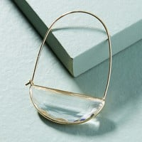 Stone Crescent Hoop Earrings