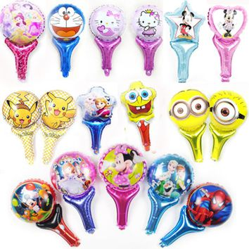 20pcs/lot hand balloons foil material hand cheering princess elsa anna pikachu mickey minnie minion hello kitty hand balloon