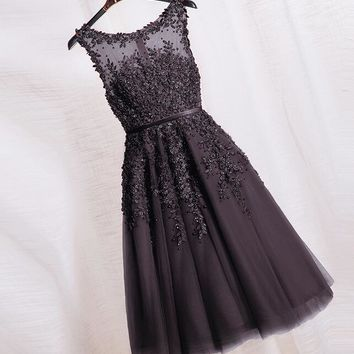 Pearl Lace Deep Grey Homecoming Dress Free fast shipping