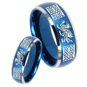 His Her Satin Blue Dome Multiple Dragon Celtic Two Tone Tungsten Wedding Rings Set
