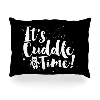 "Nick Atkinson ""Cuddle Time"" Black White Oblong Pillow"