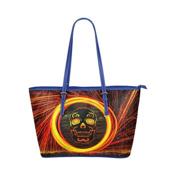 Hip Water Resistant Small Leather Tote Bags Sugar Skull #12 (5 colors)