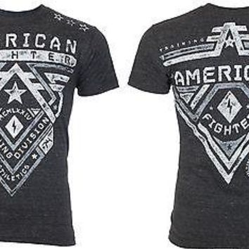 Licensed Official AMERICAN FIGHTER Mens T-Shirt CROSSROADS Athletic CHARCOAL Biker Gym MMA UFC $40