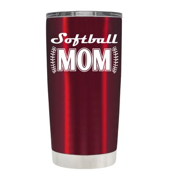 TREK Softball Mom on Translucent Red 20 oz Tumbler Cup