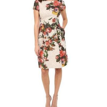 Adrianna Papell Short Floral Dress Cocktail