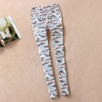 9 Sizes 3 Designs Fashion Camouflage Pants Women Skinny Jeans Plus Size Pencil Pants Stretch Slimming Print Close Fitting Jeans