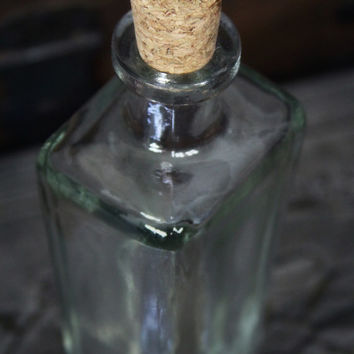 Glass coffin bottle w cork - gothic apothecary bottle - recycled glass