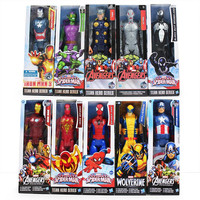 30cm The Avengers Figures Iron Man Spiderman Captain American Wolverine Thor Ultron Goblin PVC Toy Action Figure Model With Box
