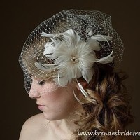 Ivory Full Side Blusher Birdcage Veil