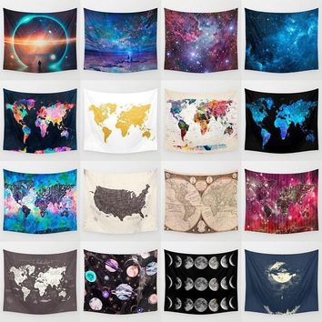 Wall Tapestries 3D World Map Cosmos Galaxy  Tapestry