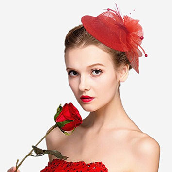 Women's Fascinator Gauze Mesh Pillbox Hat Bridal Wedding Hair Clip Headpiece Red
