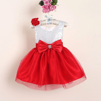 New Christmas Flower Girl Dresses Hot Red Sequin Big Bow Baby Party Dress for wedding vestidos infantis 0-4 years