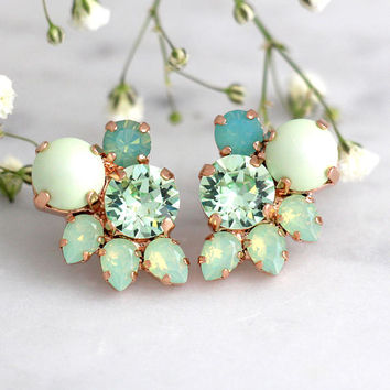 Mint Earrings, Mint Stud Earrings, Bridal Earrings, Mint Bridal Earrings, Bridesmaids Earrings, Mint Opal Earrings, Mint Green Earrings