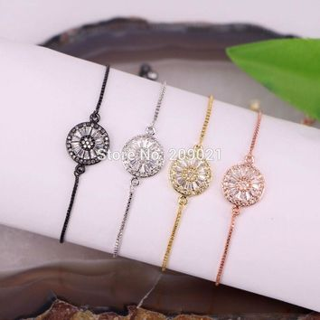 For Women ~ 10PCS Micro Pave CZ zircon Crystal Round Connector Bead Macrame Adjustable chain Bracelet Jewelry