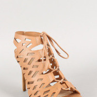 Leatherette Cut Out Lace Up Open Toe Heel