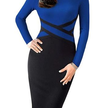 Royal Blue Contrast Waist Long Sleeve Work Sheath Dress