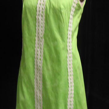 Vintage 70 Resort Style A-Line Shift DRESS Palm Beach SAKS Cotton with Lace Trim Bust 39""