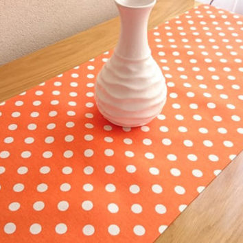 NEW!! Orange Large Polka-Dot Table Runner, Modern Table Runner, Colorful Table Cover, Duck Tablecloth, Cotton Table Runner