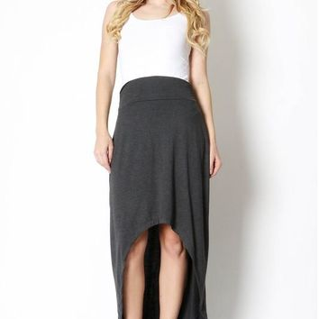 HIGH-LOW MAXI SKIRT WITH SHIRRED WAIST