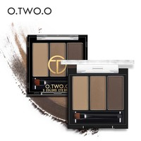 O.TWO.O 3colors in 1 Waterproof Eye Shadow Eyebrow Powder Make Up Palette Women Beauty Cosmetic Eye Brow Makeup Kit Set
