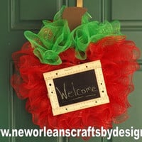 Back to School Deco Mesh Apple Wreath with Mini Chalkboard