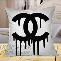 Chanel Drip Black Logo on Square Pillow Cover