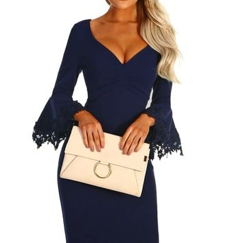Z| Chicloth Navy Crochet Frill Sleeve Midi Dress