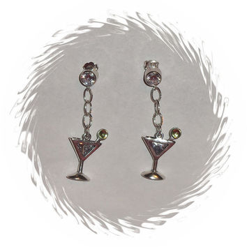 Sterling Silver Cubic Zirconia Peridot Martini Dangle Earrings August Birthstone Jewelry