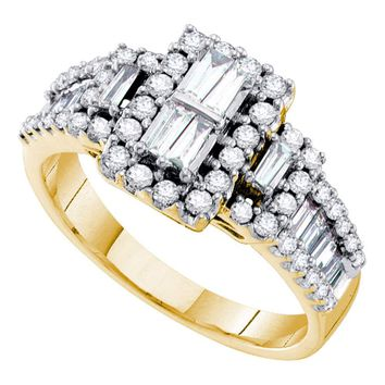 14kt Yellow Gold Womens Baguette Diamond Rectangle Frame Cluster Ring 1.00 Cttw