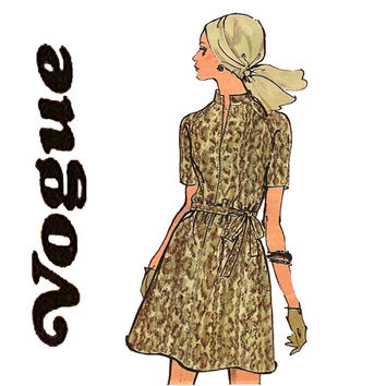 1970s Dress Pattern Uncut Bust 34 Vogue 7820 A Line Dress Raglan Sleeve Dress Shift Dress Mod Dress Patterns Womens Vintage Sewing Patterns