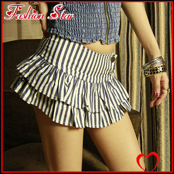 1 Piece Nightclub Girl's Sexy Low Waist S/L Above Knee Sim Cute Bll Gown Pencil Pantskirt Two Layers Vertical Stripe Sexy Shorts