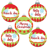 Christmas Ornament Stickers for Holidays - Gift Wrapping Seal Labels