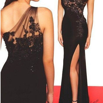 Hot Sale Split Black Lace One Shoulder Sexy Ball Gown Style Prom Dress [4919903364]