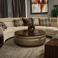 Aico Cloche Collection 4pc Sectional Bourbon by Amini