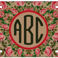 Personalized Monogrammed Vintage Floral Flower License Plate Custom Car Tag L219