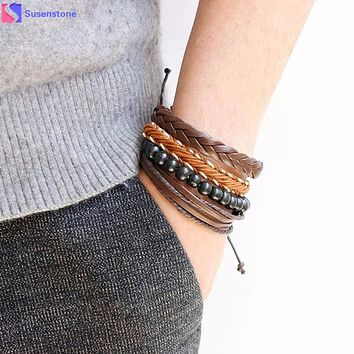 Stacking Multi-layer men and women leather bracelets