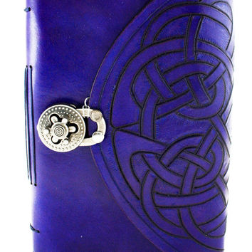 Celtic hand carved  leather hand bound journal