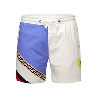 Fendi men's summer sports fashion beach shorts White