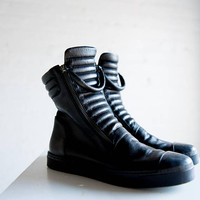 NEW Leather Sneaker Boots / Genuine Leather Shoes / Zipper Boots / Stylish Sneakers / Black Shoes / Marcellamoda - MS0984