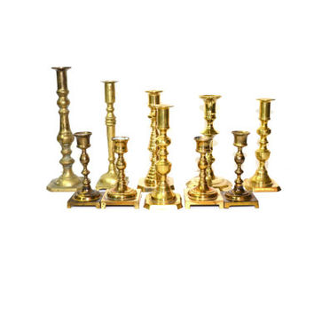 Brass Candlesticks Brass Candle Holders Lot of Brass Candlesticks Wedding Candlesticks Wedding Decorations - Set of 10