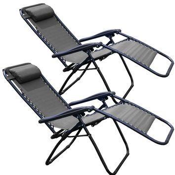 Tahoe Gear Zero Gravity Chair Yard Lounge Patio Lawn Recliner, Black (2 Pack)