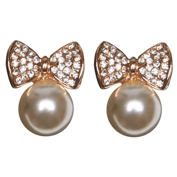 Pearl & Bow Earrings | Wet Seal