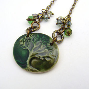 Tree of Life necklace, antiqued brass chain, green 20 1/4 inches 51cm