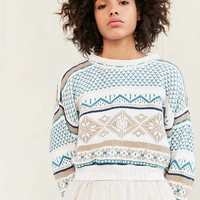 Urban Renewal Remade Cropped Printed Sweater - Urban Outfitters